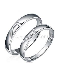 Engraved Half Hearts Sterling Silver Promise Rings Set for 2