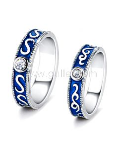Modern Fashion Couples Rings Set for 2 with Engraving
