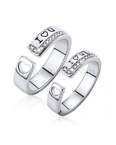 Personalized Hearts Promise Silver Rings Set for Friends