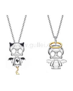 Devil Angel Couples Necklaces Set for Two Silver