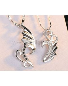 Custom Made Silver Lovers Couples Necklaces Set for 2