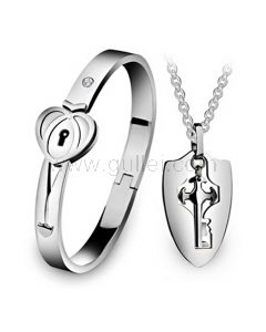 Personalized Lock and Key Bracelet Necklace Couples Jewelry Gift