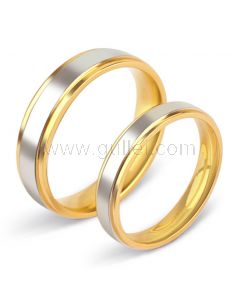 Titanium Couples Wedding Bands with Names Engraved Set of 2