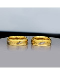 Engraved Gold Plated Titanium Wedding Bands with Names