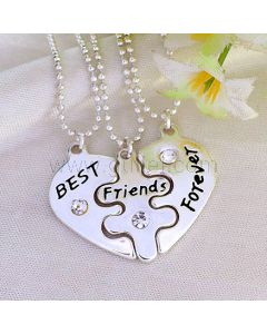Engraved BFF Necklaces Best Friends Forever Set for 3 People