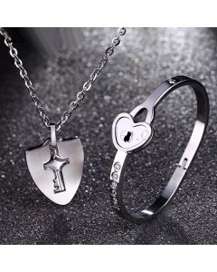 Real Lock and Key Engraved Bracelet Necklace Couples Jewelry