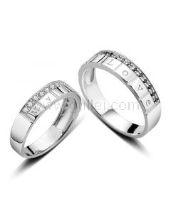 Personalized Gold Plated Sterling Silver Promise Rings for Couples