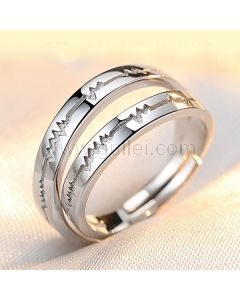 Names Engraved Heartbeat Soulmates Silver Adjustable Rings Set
