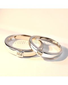 Engravable Silver Hearts Adjustable Rings for Soulmates