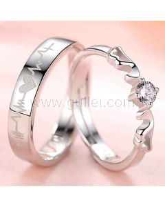 Customized Silver Zircons Adjustable His Hers Rings Set