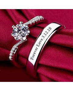 Personalized Couple Promise Rings Set Sterling Silver