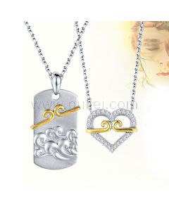 Sterling Silver Popular Chinese Theme Couples Necklace Set