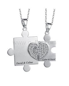 Jigsaw Puzzle Couples Jewelry Engraved Gift Sterling Silver
