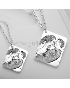 Photo Engraved Necklace Wedding Anniversary Gift for Couples