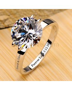 3 Carats Solitaire Diamond Engagement Ring for Her
