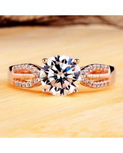 2 Carat Diamond Celebrity Engagement Ring Rose Gold Plated