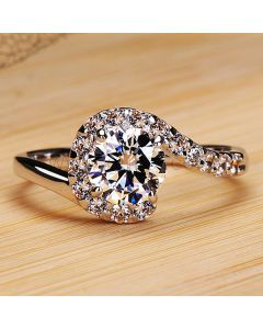 Unique Pt Plated 1 Carat NSCD Diamond Engagement Ring for Her