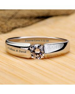 0.3 Carat Diamond Mens Promise Ring Pt Plated with Name