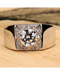 Personalized 0.8 Ct Diamond Engagement Ring for Men