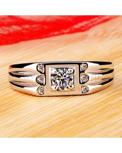 0.3 Ct 950 Pt Plated Diamond Mens Wedding Band with Engraving