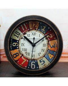Beautiful Colorful Small Wooden Table Clock