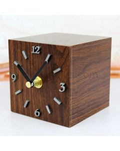 Beautiful Cube Shaped Wooden Table Clock Gift