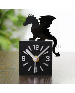 Wooden Cube Shaped Dragon Table Clock Housewarming Gift