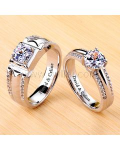 1.8 Carat Diamond Promise Rings Set with Engraving Platinum Plated