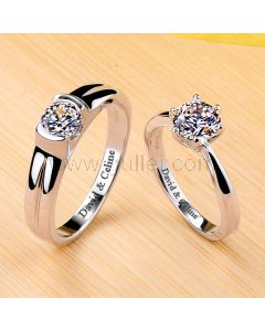 1.6 Ct Diamond Engagement Personalized Rings Platinum Plated Silver