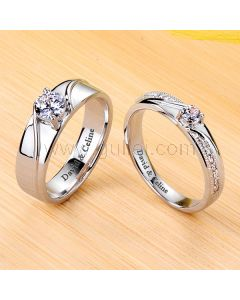 0.54 Carat Celebrity Style Diamond Couples Rings with Engraving
