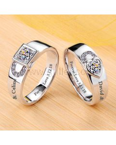 0.64 Carat Diamond Promise Couples Rings Lock and Heart