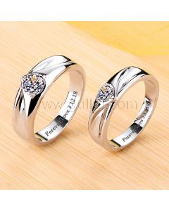 Platinum Plated Silver Couples Diamond Wedding Bands