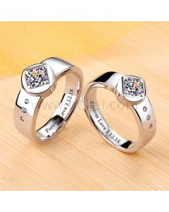 Platinum Plated 0.99 Diamond Couples Wedding Bands Him and Hers
