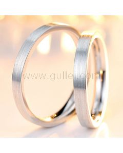 Engraved Rhodium Plated Silver Unisex Couples Wedding Bands