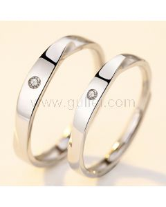 Simple Unisex Engraved Couples Expandable Promise Rings