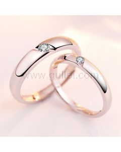 Rhodium Plated Expandable Wedding Rings with Custom Names