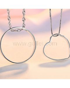 Custom Made Silver Couples Pendants Set for Two