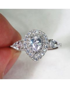 1 Carat Pear Cut Synthetic Diamond Celebrity Engagement Ring