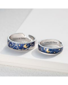 Matching Promise Rings Christmas Gifts for Couples (Adjustable Size)