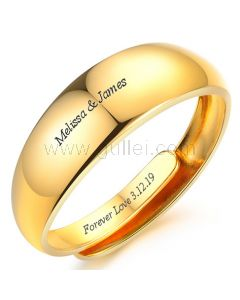 Gold Plated Mens Promise Ring Adjustable Size 7mm