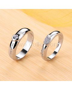 Engraved 0.5 Carat Diamond Couple Promise Rings Set for 2
