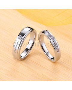 Engraved 0.8 Carat Diamond Couple Promise Rings Set for 2
