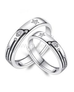 Personalized Sterling Silver Wedding Rings Set