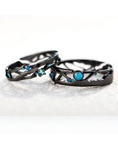 Black Promise Rings Christmas Gifts for Couples (Adjustable Size)