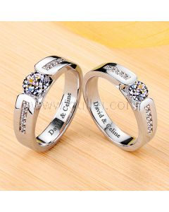 0.99 Carat Matching Diamond Promise Rings Pt950 Plated Silver