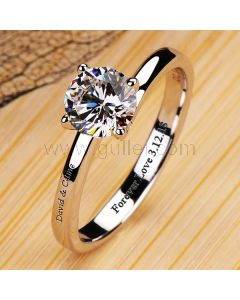 0.6 Carat Diamond Engagement Ring for Her with Custom Engraving