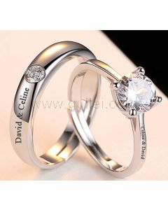 Adjustable Size Silver Engraved Matching Wedding Bands