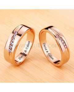 0.03 Ct Diamond Matching Promise Rings 18K Rose Gold Plated Silver