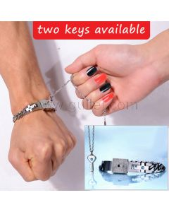Engraved Real Lock and Key Bracelet Necklace Christmas Gift for 2