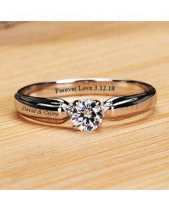 0.2 Ct Diamond Promise Ring for Her With Names Engraved